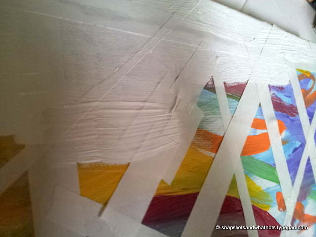 DIY abstract art - white paint and tape (3)