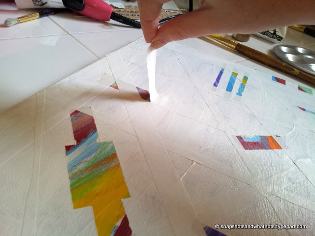 DIY abstract art - white paint and tape (5)