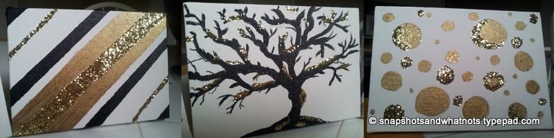 Glitter Art canvas DIY easy painting cheap decor