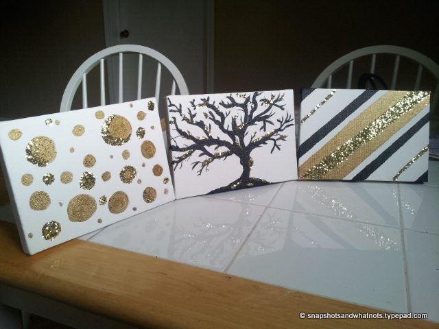 Diy Canvas Art Black White Gold And