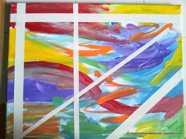 DIY abstract art - white paint and tape (1)