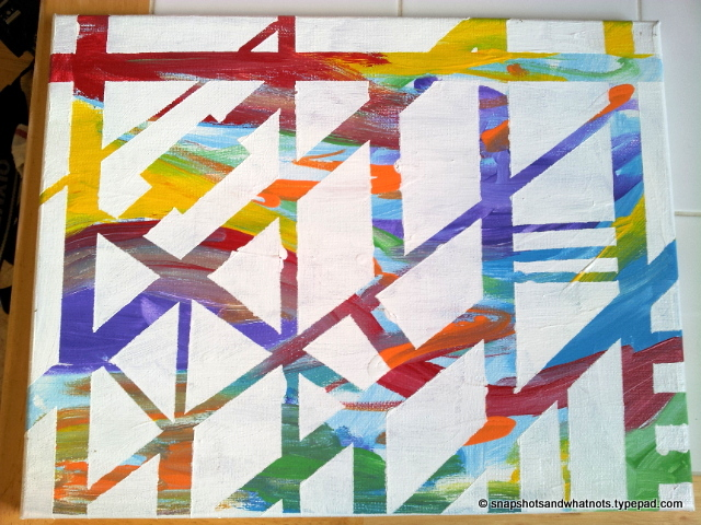 DIY abstract art - white paint and tape (6)