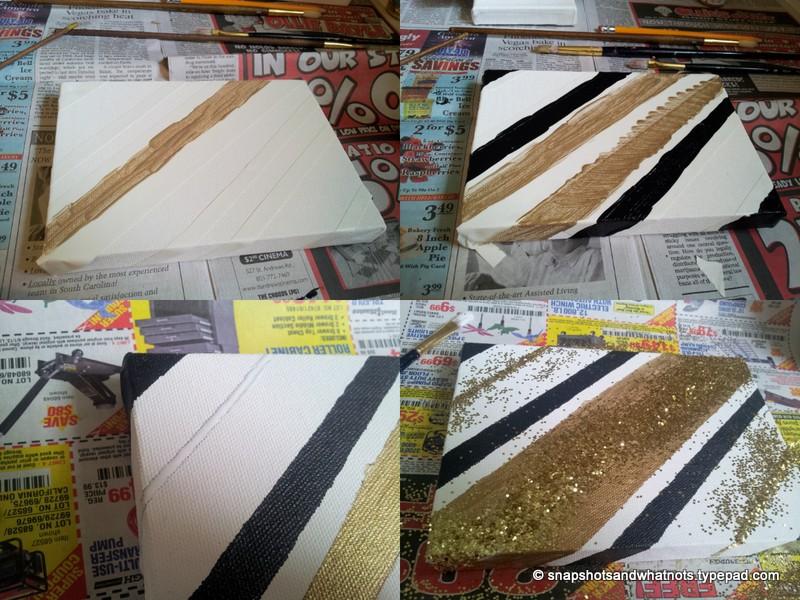 Diy Canvas Art Black White Gold And Glitter Snapshots Whatnots