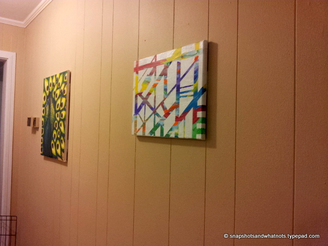 DIY abstract art - white paint and tape (7)