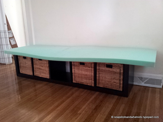 IKEA hack - expedit bookcase to bench with removable cushion cover (6)