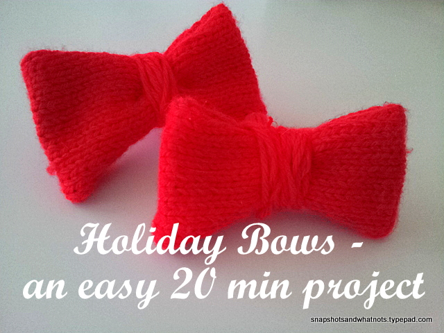 Holiday bow-ties - and easy 20 min DIY project