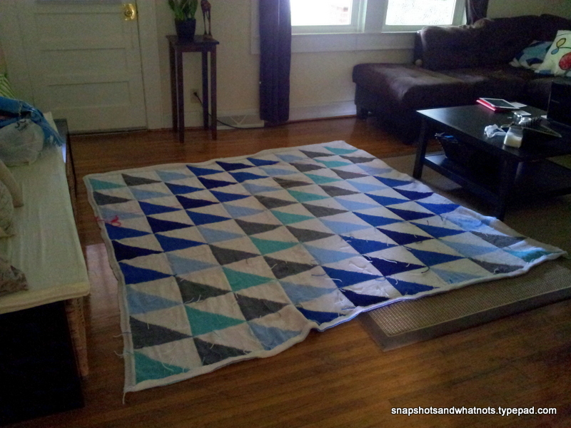 Patchwork blanket - backing with fabric and quilting (1)
