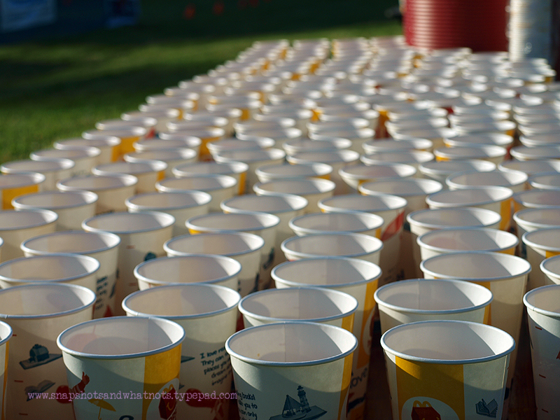Cups waiting for runners