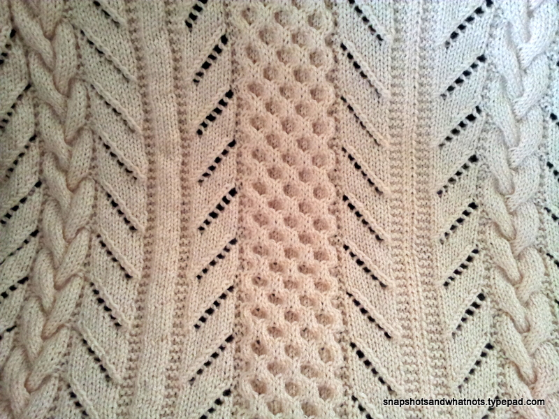 Huge cozy cable knit blanket made in sections (3)