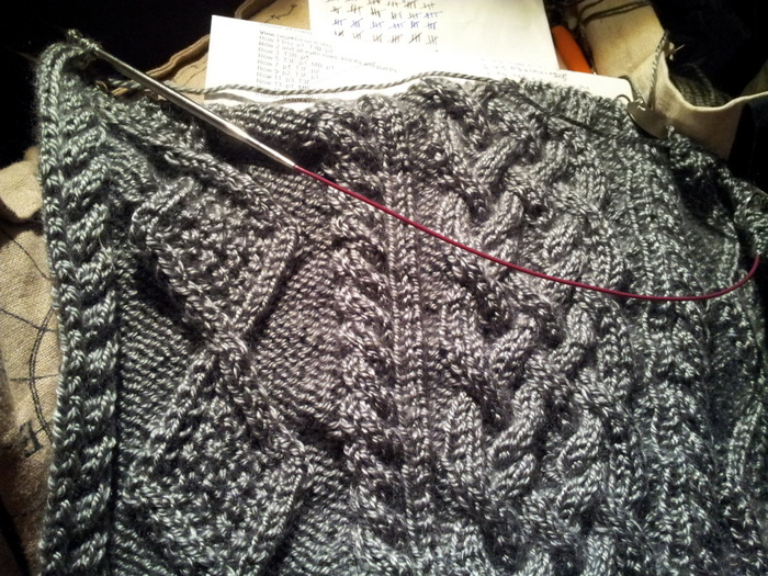 Progress on the cable knit blanket