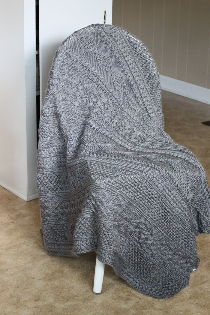 Large Grey cable knit blanket (4)