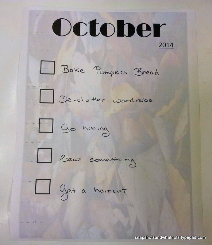 October 2014 - month goals