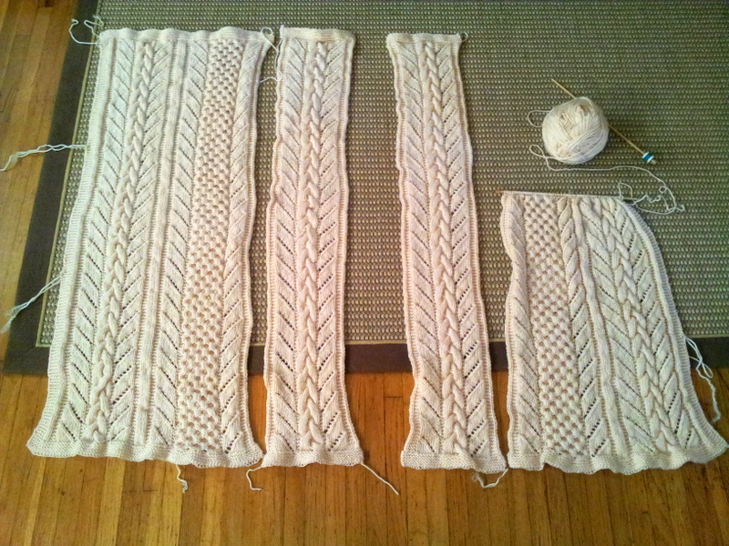 Progress on the cream cable knit blanket (2)