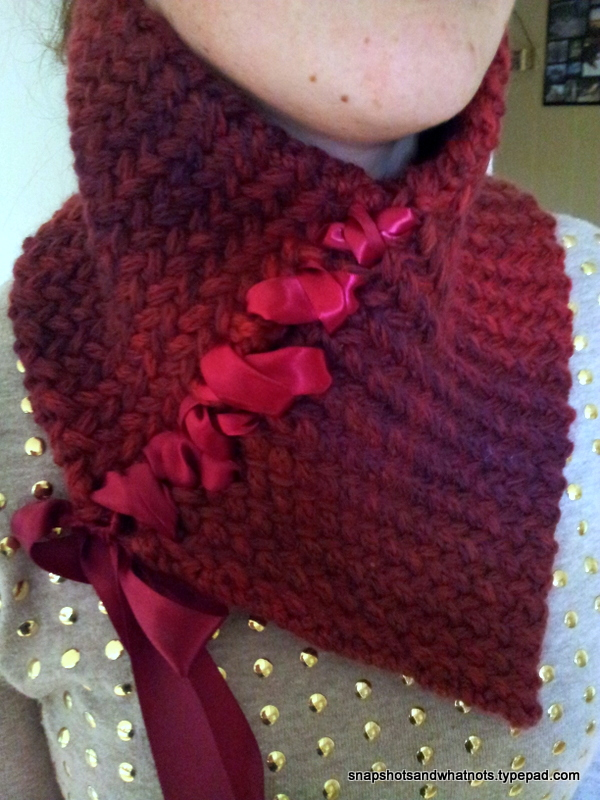 My first knitting commission: Ribbon-laced Herringbone Neckwarmer ...