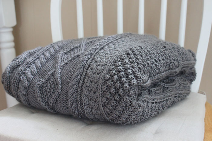 large grey cable knit blanket 3 - Cable Knit Throw