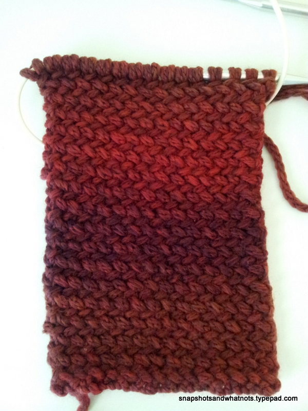 Herringbone knitting work in progress (1)