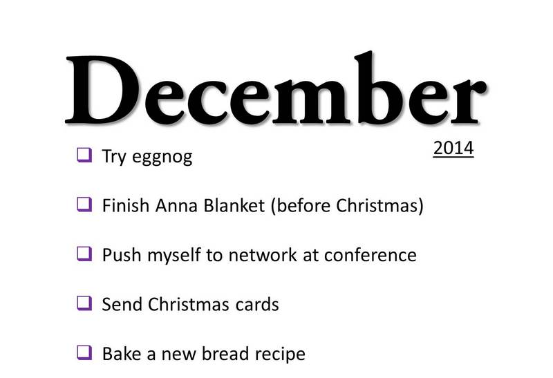 December 2014 monthly goals