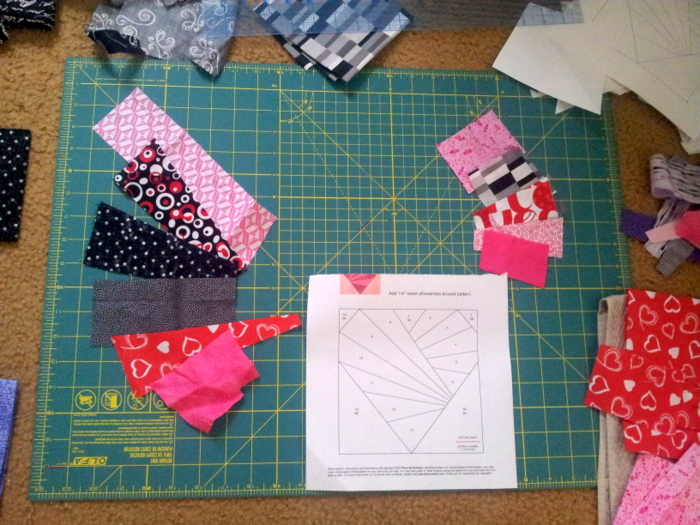 Paper piecing a heart block - a wip (1)