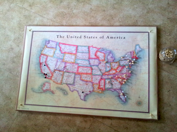 Push-pin map of the USA - a DIY project (1)