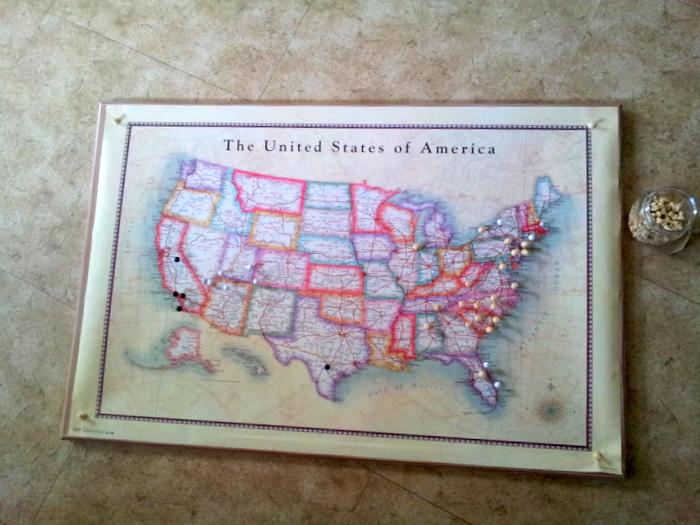 usa push pin map diy ish snapshots whatnots