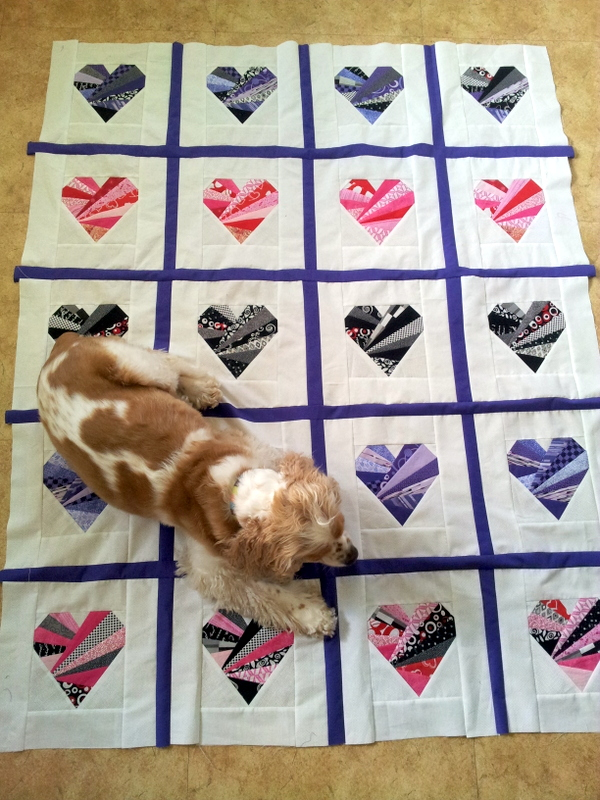Working on the heart quilt